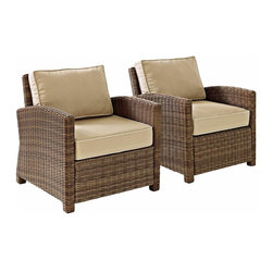 Crosley - Biltmore 2 Piece Outdoor Wicker Seating Set  -  Two Arm Chairs, Sand - The modular design of the Biltmore 2-Piece Outdoor Wicker Conversation Set by Crosley allows you to customized seating area in your backyard. Coordinate with other Biltmore Wicker pieces or create your own configuration (additional pieces sold separately)