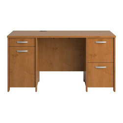 Bush - Bush Envoy Double Pedestal Wood Desk in Natural Cherry - Bush - Computer Desks - PR76360K - Here's a desk with serious storage and work space that makes a stylish statement: the Envoy Collection Double Pedestal Desk in Natural Cherry finish.