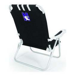 "Picnic Time - Northwestern University Monaco Beach Chair Black - The Monaco Beach Chair is the lightweight, portable chair that provides comfortable seating on the go. It features a 34"" reclining seat back with a 19.5"" seat, and sits 11"" off the ground. Made of durable polyester on an aluminum frame, the Monaco Beach Chair features six chair back positions and an integrated cup holder in the armrest. Convenient backpack straps free your hands so you can carry other items to your destination. Rest and relaxation come easy in the Monaco Beach Chair!; College Name: Northwestern University; Mascot: Wildcats; Decoration: Digital Print"