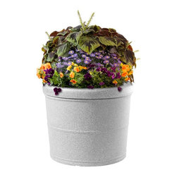 DMC - Self-Watering 27 Gallon Round Earth Planter - Rolled Rim - 95130 - Shop for Planters and Pottery from Hayneedle.com! About EarthPlanterOptimizing the balance between technology size design and functionality EarthPlanters are the result of ten years of research. These planter are successful because of a patent pending RapidWick watering system that delivers the nutrients your plants need automatically. RapidWick goes to work immediately and adjusts the water flow rate automatically as moisture demands change due to weather conditions. Each planter has a planting tray for soil-less mixture and this design promotes a deep even distribution of water to achieve great results. A large water reservoir lets you go anywhere between one week to two months between watering. Refill periods depend on size of planter (smaller need more frequent refills) and environmental conditions. An overflow assembly means your planter can never be overfilled. All the guesswork is taken out so there's no risk of under-or over-watering your plants and the proper amount of water air and nutrients are delivered to the root system at all times. Plants will thrive and daily maintenance is eliminated.