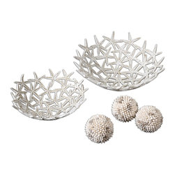 Uttermost - Antique White Starfish Bowls With Spheres, Set of 5 - Antique White Starfish Bowls With Spheres Set of 5