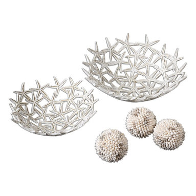 Uttermost - Antique White Starfish Bowls With Spheres Set of 5 - Antique White Starfish Bowls With Spheres Set of 5
