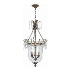 Joshua Marshal - Camden Three Light Antique Brass Up Pendant - Three Light Antique Brass Up Pendant