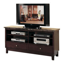 "ACMACM07093 - Britney Black Marble Top TV Stand Entertainment Console with 2 Drawers - Britney Black marble top TV stand entertainment console with 2 drawers. Measures 60"" x 18"" x 29"" H. Some assembly required."