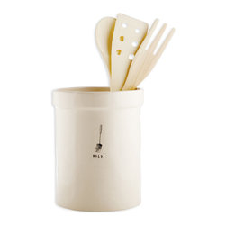 """""""Hold"""" Ceramic Utensil Holder - A classic cylindrical jar with a raised lip and simplified form takes on personality with the discreet line drawing of a spatula and small command """"hold"""" on its side.  The icon in black and white contrasts crisply with the creamy body of this light ceramic kitchen accent, but its size makes the quirky personality subtle, a smile-inducing transitional accent with a practical purpose."""