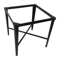 "Pre-owned Kreiss Montoro Patio End Table - A Kreiss ""Montoro"" square patio end table, in a matte black that's been powder coated. This side table has never been used and is in perfect condition, but will require a glass top.    Please note, the seller also has the matching Montoro patio bar chairs, a larger table, a loveseat, and chaise loungers available. If you are interested in purchasing multiple pieces (or the set), please email: support@chairish.com."