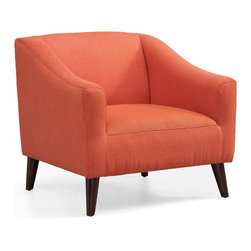 None - Quincy Arm Chair Rust - Relax in comfort with the Quincy Arm chair. Made with solid wood legs in a rich espresso finish,this 100-percent polyester upholstered chair features a cool orange rust color.