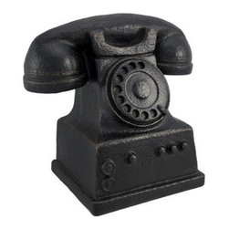 Antique Rotary Telephone Replica Home Decor Accent - This antique rotary telephone replica is a wonderful accent to display on desks, shelves, or tables. Made of cold cast resin, it measures 7 1/2 inches tall, 8 inches long, 5 inches wide and has a lovely cast iron finish, giving it the look of metal. This piece looks lovely anywhere in your home or office, adding a nostalgic accent to a modern home or workplace.