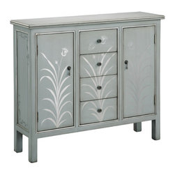 Stein World - 2 Door 4 Drawer Accent Cabinet - Features: -Hand painted.-Silver blue grey finish.-Gloss floral accents.-Distressed: No.Specifications: -2 doors and 4 drawers.Dimensions: -36.75'' H x 42.25'' W x 12.25'' D, 110 lbs.-Overall Product Weight: 110 lbs.