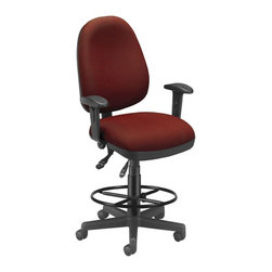 """Skutchi - 6 Function Exec/Task Chair W/ Drafting Kit - Wine - Computer Task Stool. This stool features adjustable back height, angle, and support tilt. Seat pitch and tilt are also adjustable, and seat height is a simple adjustment with easy gas lift. Stain-resistant fabric comes in a variety of stylish colors. Also includes built-in lumbar support in the molded poly back shell. The 3"""" thick vinyl padded seat ensures all-day comfort. The wheeled 5-star base adds stable mobility. Includes adjustable foot ring. Weight capacity up to 250 lbs."""