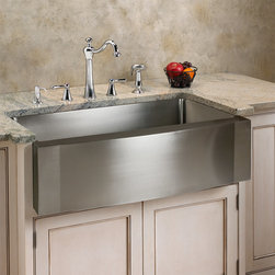 "24"" Optimum Stainless Steel Farmhouse Sink - Wave Front - Aesthetically pleasing and functional, this stainless steel farmhouse sink features a wave front apron. Its deep single well is ideal for both food preparation and cleanup, while the stainless steel matte finish adds a luxurious touch."