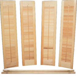 "Southern Shutter - Interior Shutter Kit, Unfinished Wood - The classic look of our affordable bi-fold shutter kit is sure to enhance the decor of any home or office. 1 1/4"" inch slats give this shutter set an old time charm. Available in lengths up to 40"" inches, this set is designed to cover half a window cafe style, or may be double hung to cover the whole window. Our Shutter Kits are unfinished allowing you to paint or stain them to match your decor. Each of our DIY kits comes with 4 panels, hanging strips, brass plated mounting hardware, and a hook and knob set. These DIY shutters may be mounted either inside or outside the window jamb. No trimming of the width is required for an outside the jamb mount. If mounted inside the jamb each shutter stile will trim 1/2"" inch in width and 2"" inches top and bottom for length."