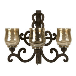 iMax - Forged Iron Triple Wall Sconce - Made from forged iron in Spanish mission style, this three candle wall sconce will add quiet ambiance to any room.