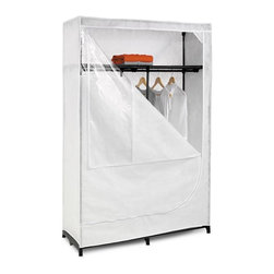 Honey Can Do - 46 in. Cloth Wardrobe - Ample hanging space. Lightweight cloth cover for protecting garments while in storage. Top shelf for storing shoes, folded garments etc.. Full access zip for easy use. Lifetime limited warranty. Made from non-woven, steel and vinyl. White cover with black frame. Assembly required. 46 in. W x 18.10 in. D x 68.90 in. H (12.70 lbs.)This wide wardrobe and storage closet provides an amazing value for storing your garments, off-season clothing, and other hanging items. A heavy-duty steel rod provides ample hanging space while the breathable, lightweight cloth cover completely surrounds your garments, protecting them while in storage. A handy top shelf offers additional storage space for shoes, folded garments, and other items. A peek-through top window provides quick visibility to contents and full-access zip closure opens for easy use. Top and bottom of wardrobe are fabric.