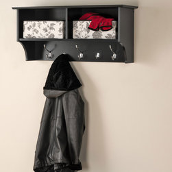 """Prepac Black 36"""" Wide Hanging Entryway Shelf - The Prepac Black 36"""" Wide Hanging Entryway Shelf keeps your gloves, hats, coats and jackets organized! Suitable for front hallway, entries or home office, its 2 compartments have space for everything from baskets to books. 3 large hooks provide storage for your outerwear. 2 smaller hooks are ideal for scarves, purses and bags. Install it easily with our innovative hanging rail system."""