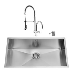 "VIGO Industries - VIGO All in One 30-inch Undermount Stainless Steel Kitchen Sink & Chrome Faucet - Breathe new life into your kitchen with a VIGO All in One Kitchen Set featuring a 30"" Undermount kitchen sink, faucet, soap dispenser, matching bottom grid and sink strainer."