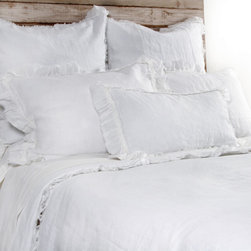 "Pom Pom at Home - Pom Pom at Home Mathilde White Duvet Cover - Pom Pom at Home's bedding and accessories lend lived-in elegance to everyday experiences.�� The Mathilde duvet cover enhances a bedroom's decor with sweet and feminine appeal. Frayed ruffles and luxurious velvet trim deliver a textured accent to the white linen bedding. Made from 100% linen. Available in twin, queen or king sizes. Machine washable. Insert not included. Twin: 68""W x 88""H. Queen: 88""W x 88""H. King: 90""W x 104""H. 2.5"" frayed edge. 0.25"" velvet ribbon trim."