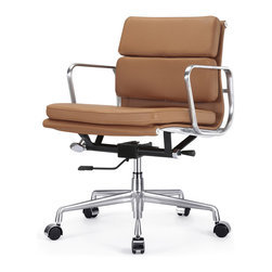 Meelano - M342 Eames Style Soft Pad Office Chair in Brown Leather - The Soft Pad chair makes short work of your long days. This is form meets function with a lot of comfort thrown in. It's designed to make your workday more comfortable while its modern, cutting edge design makes you look good.