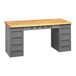 Tennsco Electronic Hardwood Top Modular Workbench With