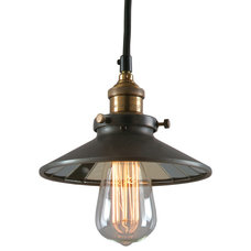 Modern Pendant Lighting Bromi Design Calvin 1-Light Industrial Pendant with Mirror Glass