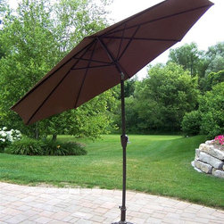 Oakland Living - 9 ft. Umbrella w Stand in Hammer Tone Bronze - Made of Durable Tubular Iron Construction. Easy to follow assembly instructions and product care information. Stainless steel or brass assembly hardware. Fade, chip and crack resistant. 1 year limited. Lightweight and constructed of durable tubular iron. Hardened powder coat finish in Hammer Tone Bronze for years of beauty. Hammer Tone Bronze finish. Some assembly required. 108 in. W x 108 in. L x 100 in. H (45 lbs.)This umbrella set will be a beautiful addition to your patio, balcony or outdoor entertainment area. Our umbrella sets are perfect for any small space, or to accent a larger space.