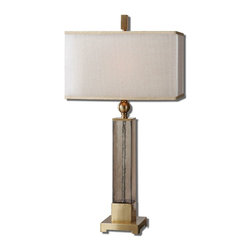 Uttermost - Uttermost Caecilia Amber Glass Table Lamp 26583-1 - Textured light amber glass accented with plated brushed details. The double rectangle hardback shades are a golden champagne inner shade with a warm champagne, silken sheer outer shade.
