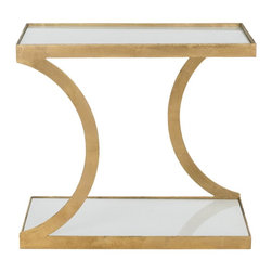 Safavieh - Sullivan Accent Table - Gold/White Glass Top - The Sullivan Accent Table brings enchanting elegance to any decorating theme. Its lustrous gold-finished iron base is complemented with two levels of space-enhancing, white glass tops. Sullivan is an ideal spot for displaying treasures or delectable treats.