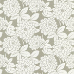 Beacon House - Souci Taupe Fun Floral Wallpaper - Blooming blossoms create a refined floral pattern that is oh-so-chic on your wall. This prepasted, non-woven material wallpaper was made in the United Kingdom, and is built to last. This versatile, neutral-toned roll gives you 56.38 square feet of washable, strippable, elegant paper.