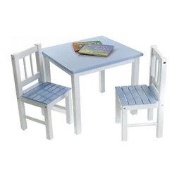 Lipper Kids Small Blue and White Table and Chair Set - For hours of playtime enjoyment, give your child his own special table and chair. Sized for a child's world, the Table and Chairs are constructed of quality hard wood, assembled with wood screws safely embedded, and painted with bright white legs and pastel blue seat and tabletop. Your child will spend happy years reading, drawing, and playing on this sturdy and cheery nursery addition. The scratch-resistant surfaces are easily cleaned with gentle soap and water so your young ones are never exposed to harsh chemicals and cleaning odors.About Lipper InternationalLipper International provides exceptionally valued kitchen, home & office organizers including the Soho Spice Collection; single serve coffee pod organizers; kitchen pantryware, cutting boards and tools; serving & entertaining accessories; and children's furniture and toy chests. Lipper uses the finest quality materials including stainless steel, bamboo, acacia wood, chrome- and powder-coated metals and other fine quality hard woods. Known for product functionality as well as beauty and quality craftsmanship, Lipper International combines quality, style, service, and price into every product and collection it offers.