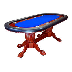 BBO Poker Tables - Rockwell 94 in. Elegant Poker Table - Blue (B - Fabric: Blue Suited Speed Cloth10 Player Positions. 4 in. Stainless Steel Cup Holders In 5 in. Mahogany Racetrack. Removable Playing Surface and Armrest. Mahogany Finish With Premium Vinyl Armrest. Oak Ball and Claw Hand-Crafted Table Legs With Middle Board Footrest. Poker Table Dimensions: 94 in. L x 45 in. W x 30 in H.. Dining Table Dimensions: 96 in. L x 48 in. W x 32 in. HLooking for a classic and timeless poker table? Allow us to present, The Rockwell. Like the right bottle of wine or perfect pour of scotch, the Rockwell offers a welcomed and familiar vehicle for the perfect poker evening. Pair it with a matching dining top, and it's the perfect Trojan Horse to sneak a high end poker table into your dining room!The Rockwell features solid oak pedestal legs and 5in racetrack, finished in a mahogany gloss. The 5in armrests are wrapped in premium sponge and heavy duty, premium leather vinyl. The playing surface is removable and easily upgradable for anyone with a staple gun.The Rockwell's classic design ensures that your players never get tired of looking at it (looking at it and losing at it are two different things). Matching chairs and dining top are available to complete the dining configuration of the Rockwell.Remember, all BBO Poker Tables tables ship free and feature our industrys best 1 YEAR WARRANTY