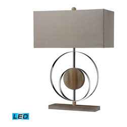 Dimond Lighting - Dimond Lighting D2297-LED Shiprock 1 Light Table Lamps in Bleached Wood With Chr - Washed Wood Table Lamp- LED Offering Up To 800 Lumens (60 Watt Equivalent) With Three Way Capabilty. Includes An Easily Replaceable LED Bulb (120V)