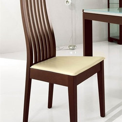 Calligaris - Chicago High-backed Wooden Slat Chair (Set of - Color: Leather CreamPictured in Cream Leather. Wenge finish. Fire Retardant. Classic wooden frame, suitable for the living & dining area. High backrest with wooden vertical slats with a sinuous S-curve that makes it both stylish and comfortable. Assembly required. Seat height: 18.125 in.. 18.125 in. W x 19.375 in. D x 41.375 in. H