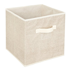 None - Kennedy Home Collection Beige Storage Cube - Combat clutter by adding the Kennedy Home Collection Storage Cube to your organizational arsenal. This functional storage piece features sturdy handles, a window label, and a collapsible design.