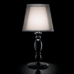 Clasica Table Lamp By Modiss Lighting - Clasica table lamp by Modiss lighting is a series of double transparent fabric shades for distinctly atmospheric lighting.