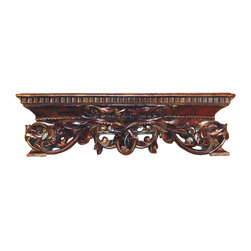 Hickory Manor House - Leaf in Rope Shelf in Napoleon Finish - Vintage original. Custom made by artisans unfortunately no returns allowed. Enhance your decor with this graceful shelf. Made in the USA. Made of pecan shell resin. 22 in. W x 6.5 in. D x 4.75 in. H (3 lbs.)