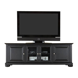 """Crosley Furniture - Crosley Furniture Alexandria 60"""" Low Profile TV Stand in Black Finish - Crosley Furniture - TV Stands - KF10005ABK - Enhance your living space with Crosley's impeccably-crafted low profile TV stand. This signature cabinet accommodates most 60"""" flat panel TVs and is handsomely proportioned featuring character-rich details sure to impress. The hand rubbed multi-step Black finish with brushed nickel hardware is perfect for blending with the family of furniture that is already part of your home.Raised panel doors strategically conceal stacks of CD/DVDs and various media paraphernalia. Tempered beveled glass doors not only add a touch of class; they protect those valued electronic components while allowing for complete use of remote controls. Adjustable shelving offers an abundance of versatility to effortlessly organize by design while cord management tames the unsightly mess of tangled wires. Style function and quality make this cabinet a wise choice for your home furnishings needs."""