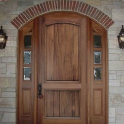 Arch Top Mahogany Doors - Golden Gate 8' high prehung arch top solid wood panel door unit with sidelights made from solid mahogany.  Price includes shipping anywhere in the US