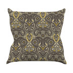 "Kess InHouse - Suzie Tremel ""Vintage Damask"" Brown Gold Throw Pillow (16"" x 16"") - Rest among the art you love. Transform your hang out room into a hip gallery, that's also comfortable. With this pillow you can create an environment that reflects your unique style. It's amazing what a throw pillow can do to complete a room. (Kess InHouse is not responsible for pillow fighting that may occur as the result of creative stimulation)."