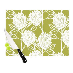 """Kess InHouse - Gill Eggleston """"Protea Olive White"""" Green Flowers Cutting Board (11"""" x 7.5"""") - These sturdy tempered glass cutting boards will make everything you chop look like a Dutch painting. Perfect the art of cooking with your KESS InHouse unique art cutting board. Go for patterns or painted, either way this non-skid, dishwasher safe cutting board is perfect for preparing any artistic dinner or serving. Cut, chop, serve or frame, all of these unique cutting boards are gorgeous."""