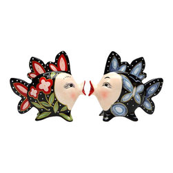 ATD - 3.5 Inch Red and Blue Floral Kissing Fish Black Salt and Pepper - This gorgeous 3.5 Inch Red and Blue Floral Kissing Fish Black Salt and Pepper has the finest details and highest quality you will find anywhere! 3.5 Inch Red and Blue Floral Kissing Fish Black Salt and Pepper is truly remarkable.