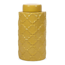 iMax - IMax Essentials Mellow Yellow Large Canister - With it's bright color and embossed quatrefoil pattern, this large lidded ceramic canister is both a fun and functional part of the Mellow Yellow collection from Essentials by Connie Post.