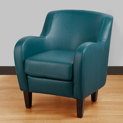 None - Bedford Turquoise Bonded Leather Tub Chair - This tub accent chair displays thoroughly modern style with swooping arm rests and a curved back. Espresso-finished wooden legs complete this handsome chair.