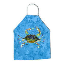 Caroline's Treasures - Crab Apron 8656APRON - Apron, Bib Style, 27 in H x 31 in W; 100 percent  Ultra Spun Poly, White, braided nylon tie straps, sewn cloth neckband. These bib style aprons are not just for cooking - they are also great for cleaning, gardening, art projects, and other activities, too!