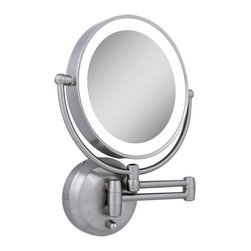 Zadro Products - Zadro LED Lighted 10X/1X Round Satin Nickel Wall Mirror Multicolor - LEDW410 - Shop for Bathroom Mirrors from Hayneedle.com! Get a pair of eyes where and when you need them with the Zadro LED Lighted 10X/1X Round Satin Nickel Wall Mirror. This dual-sided mirror rests on a double-arm that can extend out to 20 inches giving you the choice between 1X and 10X magnification anywhere you might need it. This wall-mounted mirror doesn't require extensive electrical work just 4 AA batteries to power the bright and energy-efficient LED lights. The satin nickel finish gives this versatile mirror a sleek contemporary feel.About Zadro ProductsZadro Products has been a leading innovator in bath accessories mirrors cosmetic accessories and health products for over 25 years. Among the company's innovations are the first fogless mirror first variable magnification mirror first surround light mirror and more. Not a company to rest on its laurels Zadro continues to adapt to the ever-changing needs of modern life.