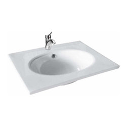 Renovators Supply - Drop In Bowls White China Lucy Self-rimming Drop in Bowl 23 5/8 W   20335 - Drop-in Sinks: Made of Grade A vitreous China these sinks endure daily wear and tear. Our protective RENO-GLOSS finish resists common household stains and makes it an EASY CLEAN wipe-off surface. Ergonomic and elegant easy reach design reduces daily strain placed on your body. SPACE-SAVING design maximizes limited bathroom space. Easy, drop-in installation let's you select from many countertop designs, sold separately. Accepts single hole faucet, sold separately. Measures 23 5/8 W x 18 5/16 projection inch and is 3/8 inch thick.