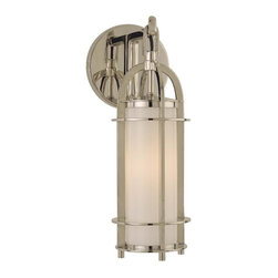 Hudson Valley - Hudson Valley 8501-PN 1 Light Bath BracketPortland Collection - We've adapted the classic coach lamp to create our Portland collection.  Opal glass evenly diffuses glowing white light from within the lamps' clean-lined, cylindrical cages.  Hook-and-eye hangers provide the authentic details that make our fixtures stand
