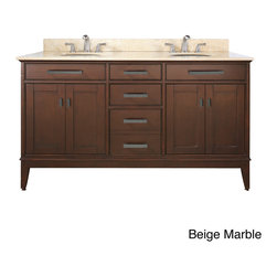 None - Avanity Madison 60-inch Double Vanity in Tobacco Finish with Dual Sinks and Top - Incorporate transitional style into your bathroom decor with the elegant Madison vanity. Finished in tobacco,this 60-inch double sink vanity features plentiful storage space to accommodate toiletries,towels and more.