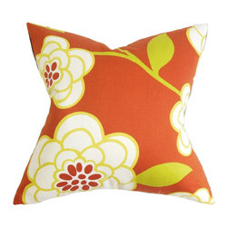 """The Pillow Collection - Junot Floral Pillow Orange 18"""" x 18"""" - Add a splash of color to any of your room with this affordable yet fancy decor pillow. This throw pillow features a fresh floral pattern in crisp colors of orange, white, red and yellow. For a more stylish decor theme, choose other patterns from our selection of accent pillows. Constructed with 100% soft and plush cotton fabric. Hidden zipper closure for easy cover removal.  Knife edge finish on all four sides.  Reversible pillow with the same fabric on the back side.  Spot cleaning suggested."""