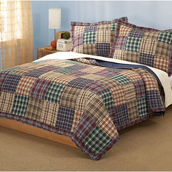 Pem America - Bradley Tan and Blue Three-Piece Full/Queen Quilt Set - - The Bradley quilt is a classic patchwork quilt, designed to accommodate the decorating style of the standard boy in your family. The variations of coordinating plaids are accented well with dark reds, greens, blues and earth tones. Cozy up to the warm, comfortable appeal of the Bradley quilt set!  - Set Includes: Full/queen quilt, two standard shams (20x26 inches)  - 100% hypoallergenic polyester  - Cleaning Care: Machine wash cold/gentle, do not bleach, tumble dry low. Pem America - QS6015QN-2300
