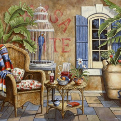 Murals Your Way - Fiesta 1 Wall Art - This wall mural shows a patio with a wicker chair, a white birdcage holding a large blue bird and a table with a pitcher of sangria